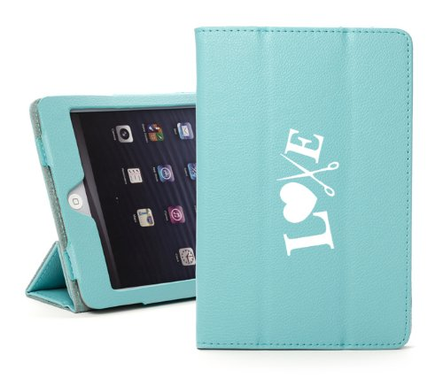 For Apple iPad Air 2 Light Blue Faux Leather Magnetic Smart Case Cover Love Hair Cutting Scissors Crafts