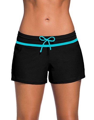 PARICI Women's Side Split Waistband Swim Shorts with Panty Liner Plus Size S-3XL
