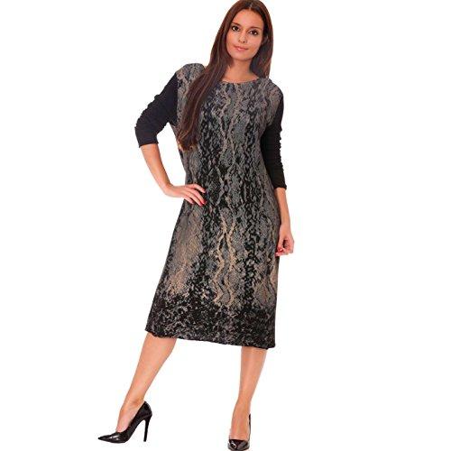 Miss Wear Line - Robe pull large mi longue noire imprimé serpent
