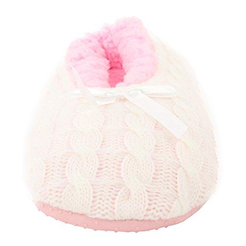 White Pink Fleece Ballerina on Slippers 3 Anti Slippers Indoors Enimay Off Slip House Slip Women's wF7vOvfq4