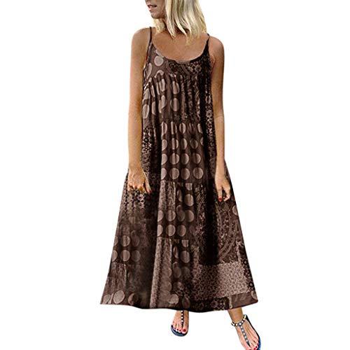 RAINED-Women Casual Loose Boho Floral Print Empire Waist Spaghetti Strap Long Maxi Summer Beach Plus Size Swing Dress