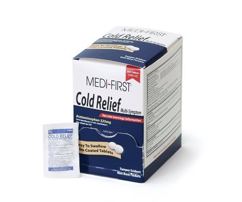 - Mediqeu/Medi-First 82248 Multi Symptom Cold Relief Coated Tablets, 125-Packets Model: 82248 Misc.