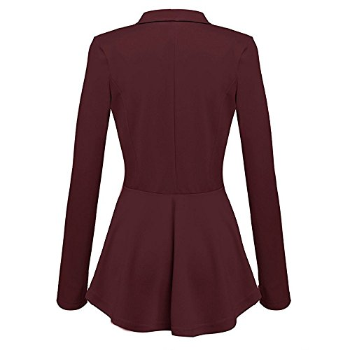 Lunghe Peplum Coat Outwear Rosso Maniche Blazer A Da Vino Giacca Con Donna Alla Arricciature Jacket Button Casual Moda 0xwqAZ6pv