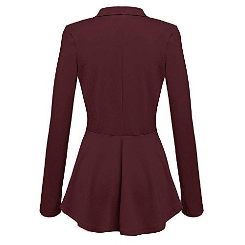 Lunghe Coat Alla Casual Rosso Giacca A Blazer Da Button Peplum Arricciature Outwear Vino Moda Con Donna Maniche Jacket g70nx76w