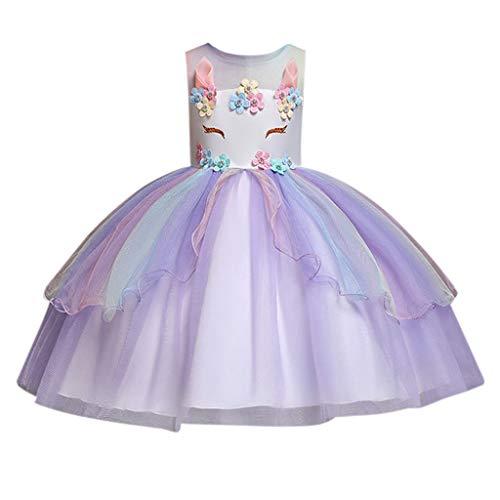 Minipoco Baby Girl Unicorn Costume, Girl Beauty Page Princess Party Dress, Girl Unicorn Dress with - Barrier Headband