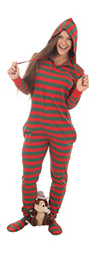 Funzee non Footed Pajamas Adult Red Green Striped Festive Onesie XS-XXL(size by Height) (Medium)