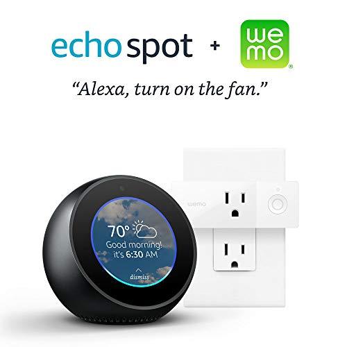 Echo Spot – Black Bundle with Wemo Mini Smart Plug