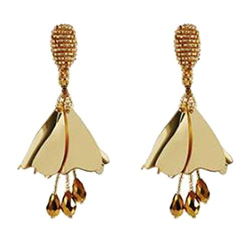 Handcrafted Impatiens Gold Flower Hollow Beaded Clip on Earrings Long Tassel for Girls Women