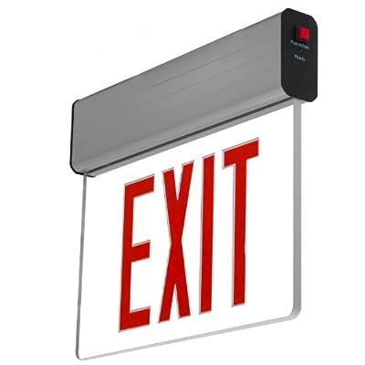 LFI Lights - Hardwired Red LED Edge Lit Exit Sign Light - Surface Mount Battery Backup - ELSMR