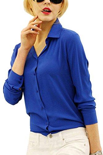 Bouton Mousseline Chemises Blouse Travailler La Longues pour Manches Womens Blue Dazosue Classique qaO7w8n
