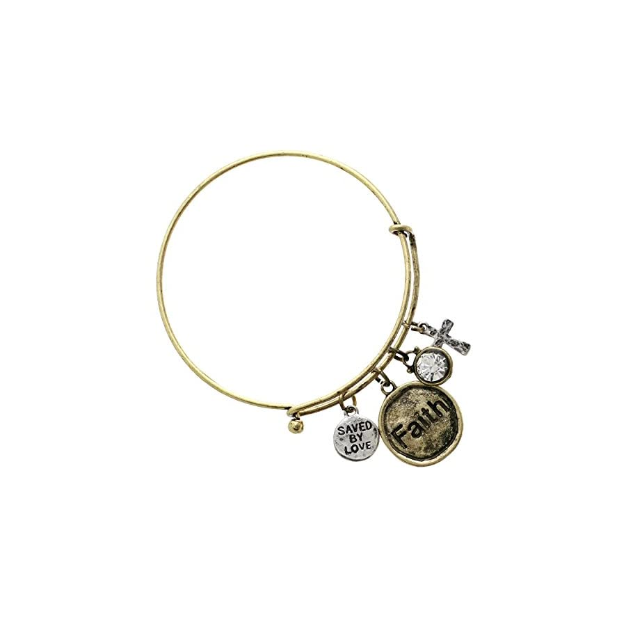 "Rosemarie Collections Women's ""Saved By Love"" Religious Cross Charm Bracelet"