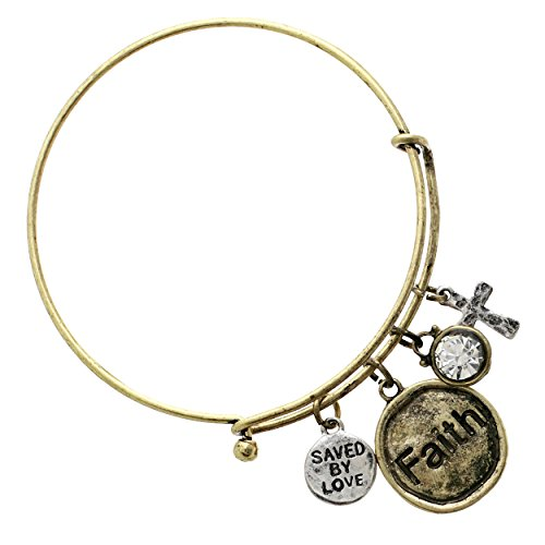 """Rosemarie Collections Women's """"Saved By Love"""" Religious Cross Charm Bracelet"""