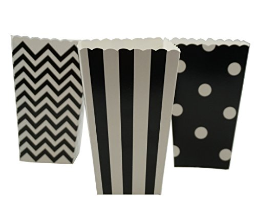Bilipala Black Chevron Stripe and Polka Dot Paper Movie Popcorn Favor Boxes, 36 Counts]()