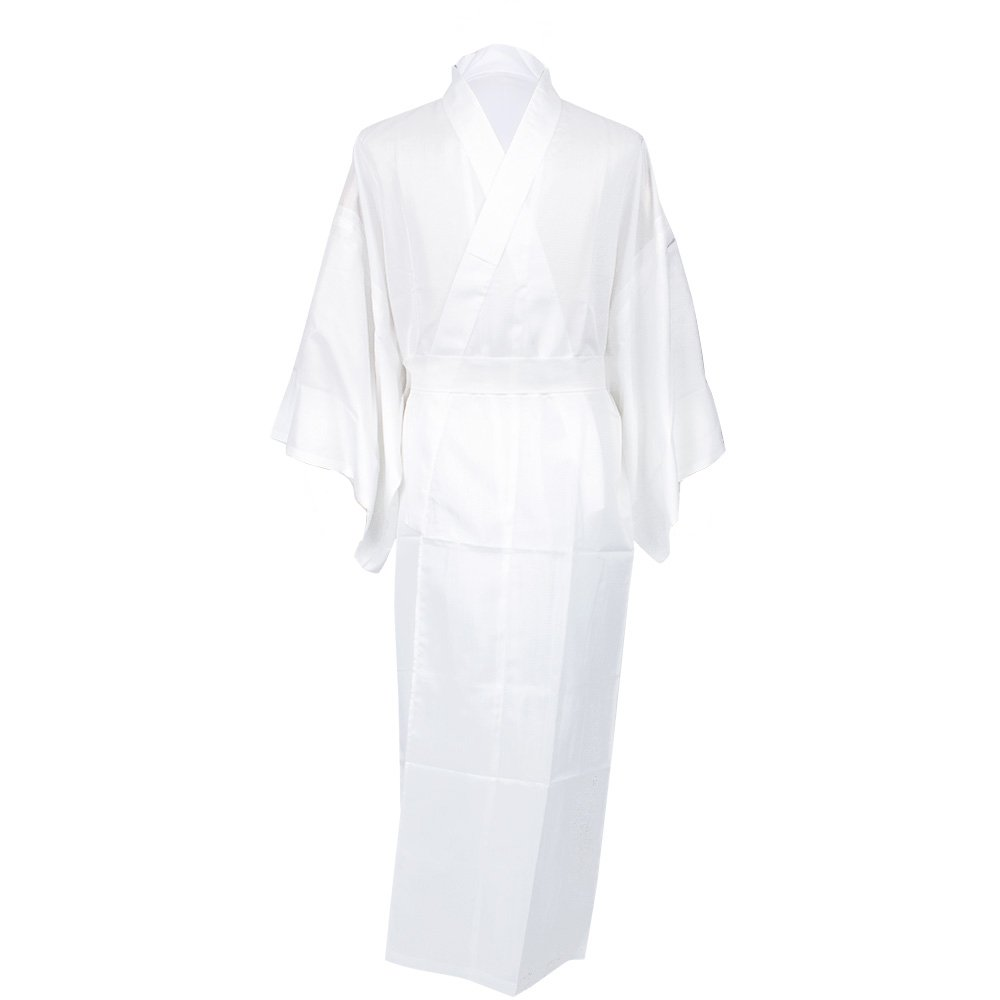 KYOETSU Men's Japanese Kimono Summer Underwear Nagajuban Washable (X-Large, White/White Coller)