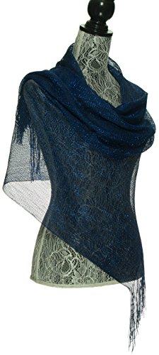 Elles Clothing Sheer Mesh Glitter Sparkle Shawl Wrap Fringe Prom Weddings Party Evening Scarfs for Women (Navy Blue) (Navy Blue Flowered)