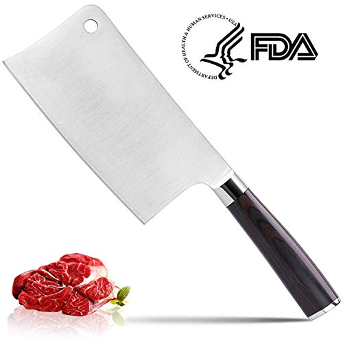 Meat Cleaver, CUSIBOX 7-inch Chief Knife Professional Butcher Knife Cleaver Knives Vegetable Cutter Heavy Duty Chopper High Carbon Stainless Steel Knife