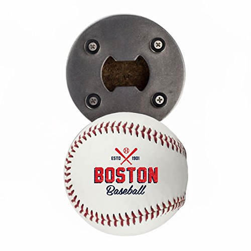 Buffalo BottleCraft Boston Bottle Opener, Made from a real Baseball, The BaseballOpener, Cap Catcher, Fridge Magnet