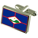 St. Eustatius Sterling Silver Flag Cufflinks in Engraved Personalised Box