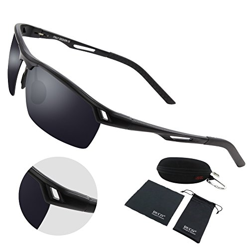 Duco Men's Sports Style Polarized Sunglasses Driver Glasses Metal Frame 8550 (Black Frame Gray - Johnny Sunglasses