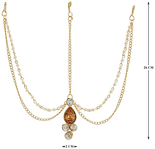 I Jewels Traditional Pearl & Stone Mathapatti Maang Tikka for Women T1083LW (Gold)