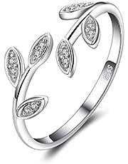 JewelryPalace Olijf Blad Zirconia Verstelbare open ring 925 sterling zilver