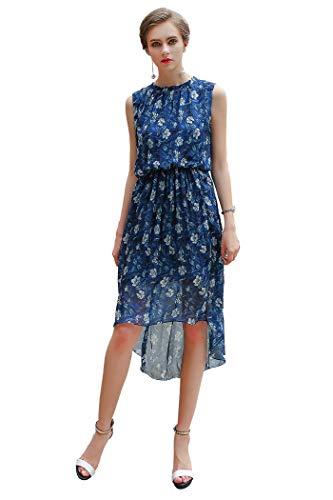VOA Vestido de Seda Azul con Cintura elástica Suave sin Mangas y Cintura Alta, Azul, M