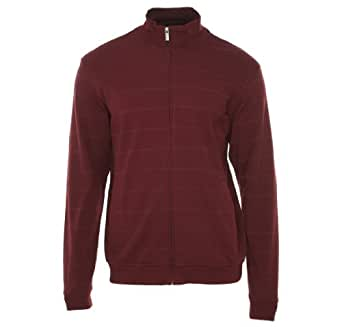 Alfani Red Burgundy Wide Horizontal Striped Full Zip Sweatshirt , Size Small