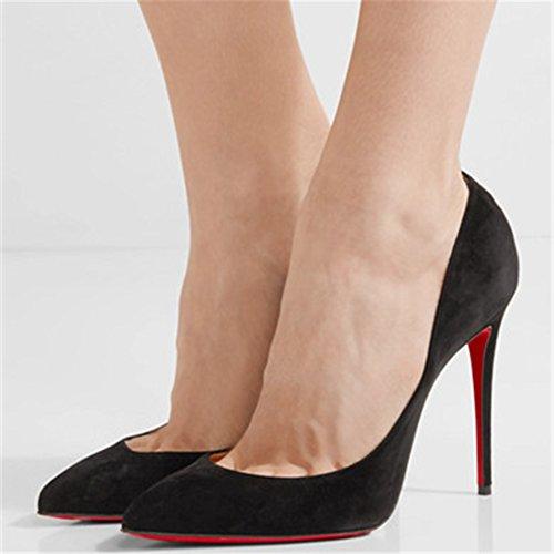 Caitlin Aguja Mujer Tacones Suela Roja Zapatos Punta Estrecha Pan Alta de de Slip Black Vestir Zapatos On Mujeres EU Bombas Formal de Sexy 35 Suede 45 de r4vrq7zn