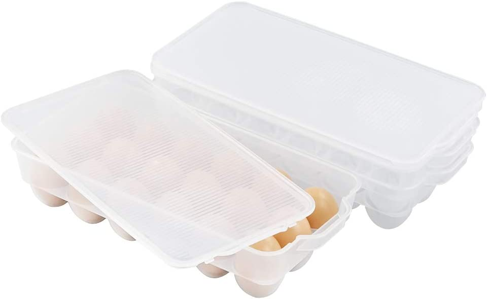 Waikhomes 3 Pack Egg Storage Trays, Plastic Clear Egg Container with Lid
