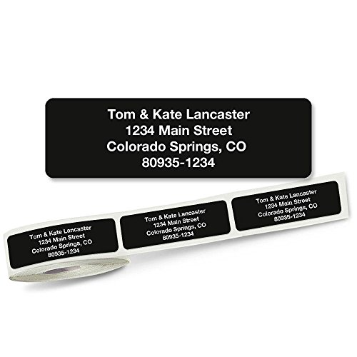 Solid Black Rolled Address Labels Roll of 500 by Colorful Images