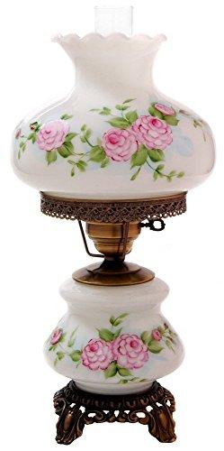 Pink Red Roses Medium Hurricane Night Light Table Lamp