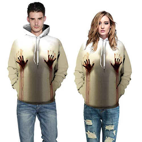 WUAI Clearance Halloween Costumes For Adults Mens Womens Hoodie Sweatshirt Skull 3D Printed Slim Pullover Jackets(Multicolor-C,Size -