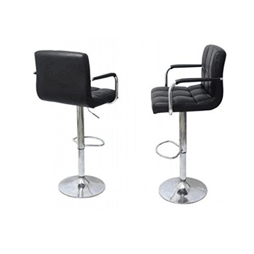 Azadx Furniture Swivel Black Bonded Leather Adjustable Hydraulic Bar Stool with Armrest, Set of 2 (Cm Bar Chair Height)