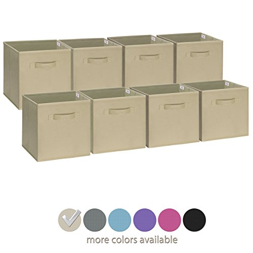 Royexe Set of 8 Foldable Fabric Storage Cube Bins | Collapsible Cloth Organizer Baskets Containers | Folding Nursery Closet Drawer | Features Dual Handles | More Beautiful Colors Available (Off White) Fabric Folding Bin