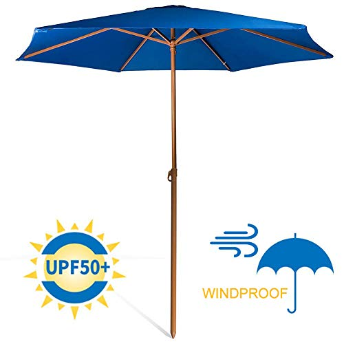 690GRAND Sturdy 8ft Shade Vented Patio Umbrella Aluminum Poles with Polyester Canopy Portable for Beach Outdoor UV Protection UPF 50+