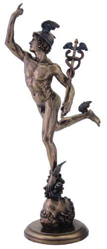 14.5 Inch Antique Replica of Flying Mercury Gr. Hermes Statue, Bronze (Bronze Replica)