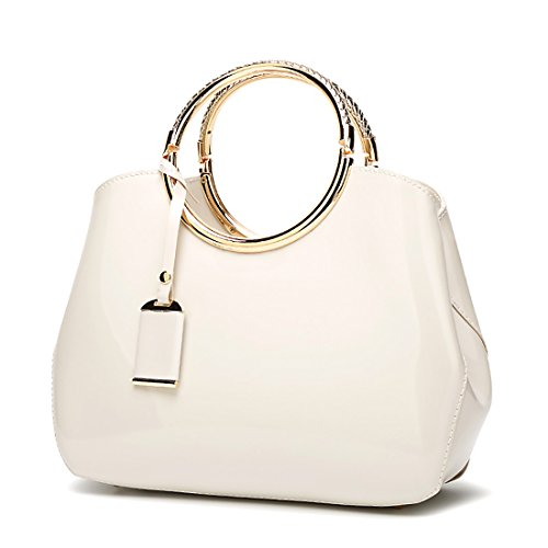 milky Top Black Shoulder Purse Leather Bags white Stylish Patent Bags Handbags Womens Ladies Handle Tote OSaaxq