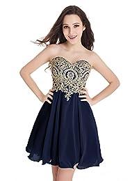 Babyonline Junior's Gold Lace Applique Short Quinceanera Homecoming Dresses