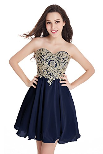 2016 Short Beading Open Back Satin Homecoming Dress Prom Gowns (Navy Blue,16)
