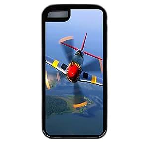 iPhone 5C Case, War Plane Close Up Durable TPU Rubber Bumper Case Cover for iPhone 5C Black