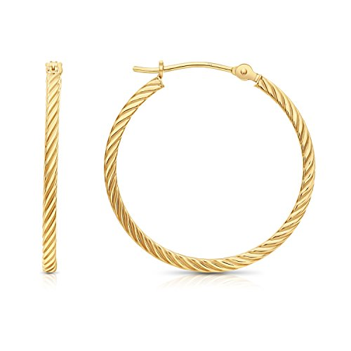 14k Yellow Gold Twisted Square Tube Hoop Earrings (25mm - -