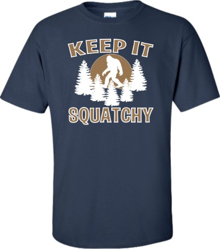 Go All Out X-Large Navy Blue Adult Keep It Squatchy Sasquatch Bigfoot T-Shirt