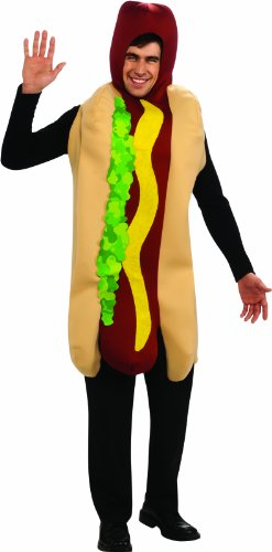 Hotdog And Bun Halloween Costume (Rubie's Costume Hot Dog Adult Humor Costume, Red, Standard)