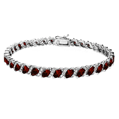 (GemStar USA Sterling Silver Garnet Marquise-Cut Tennis Bracelet with White Topaz Accents)