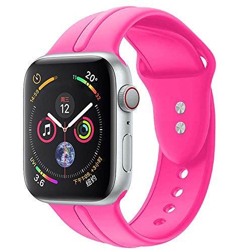 Sundo Sport Band Compatible with Iwatch Band 38mm 40mm Classic Soft Silicone Wrist Strap Bracelet Replacement for iWatch Series 4 Series 3 Series 2 Series 1 S/M M/L(Barbie Pink 38/40mm S/M)