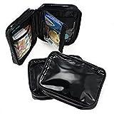 100 ALAZCO Makeup Bag Set Purse Insert Travel Organizer Clutch Black Faux Patent Leather