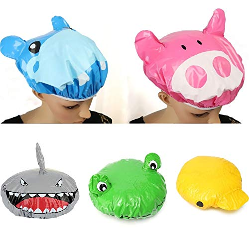 DeemoShop Fashion Cute Cartoon Animal Design Waterproof PVC Elastic Spa Shower Cap Hat Bath Hair Cover Protector Hats Bathroom Product by DeemoShop