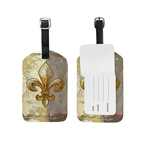 Fleur De Lis Retro Luggage Tag PU Leather Name ID Labels for Travel Bag Suitcase