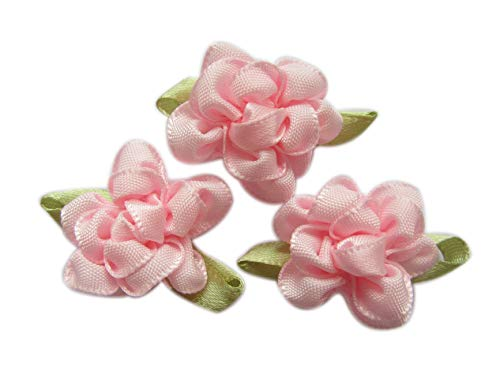 (YYCRAFT Pack of 40 Fancy 2 Tone Satin Ribbon Flower for Sewing Craft Appliques-Baby Pink )