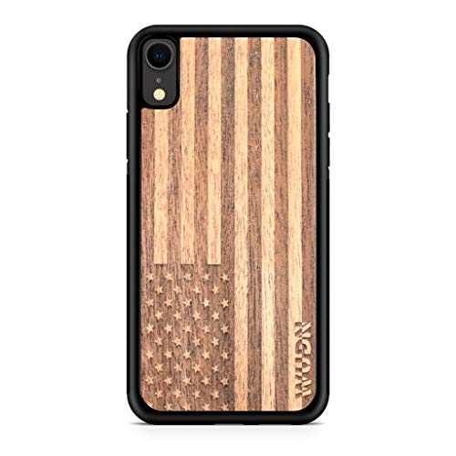 Mahogany Wood Case - Wooden Phone Case (American Flag in Mahogany) Compatible with iPhone Xr, iPhone 10r
